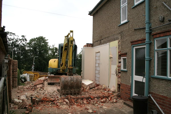 Here we have started knocking down the existing garage and extension.