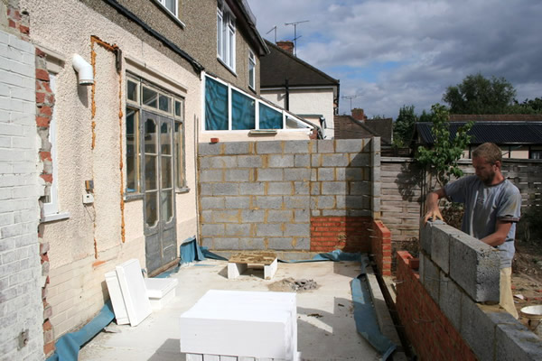 Contruction has started on the rear conservatory.