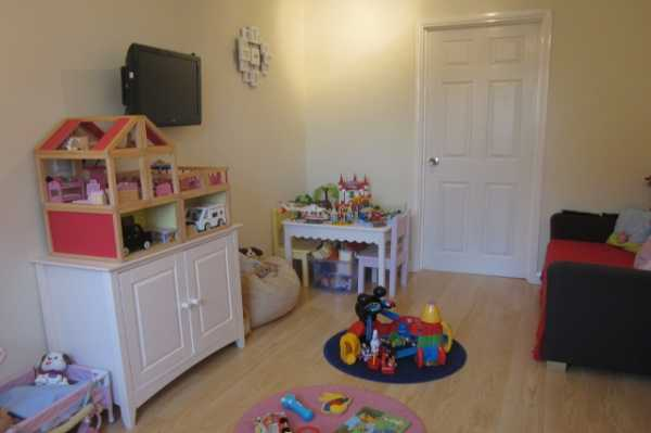 The new play area with door leading to utility room