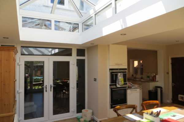 Dining area with view of new roof lantern
