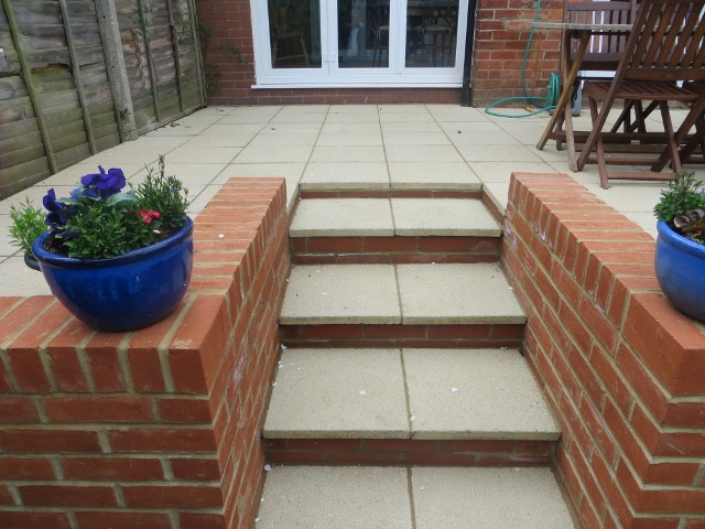 The brand new steps to the new patio